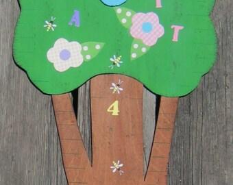 TWIN GIRLS Wood Growth Chart - Original Hand Painted Wood - 6' High