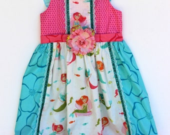 Pretty Mermaids Girls Dress, toddler dress, girls dress, birthday dress, boutique dress
