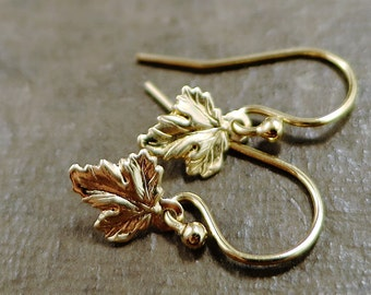 Tiny leaves, gold earrings, minimal, Nature inspired jewelry