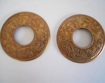 2 Vintage  Brass Circle Stampings