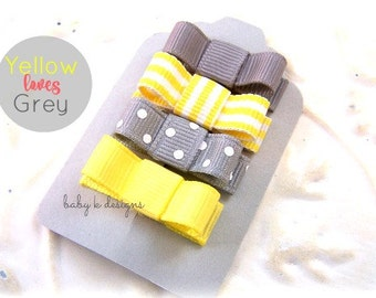 Gray n Yellow Baby Hair Clips / Newborn Hair Clips / Itty Bitty Baby Bow Clips / Toddler Girls Simple Bow Clips
