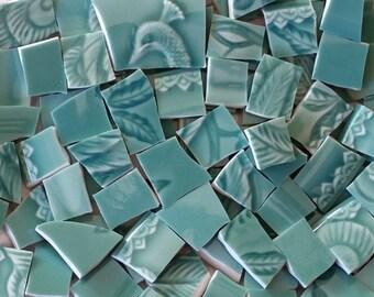 Mosaic Tiles-Green Peacock Glaze-Solid 100 tiles