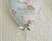 Le Jardin Heart Pin Cushion, Ornament, Millinery and Hand Embellished, ECS