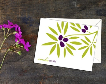 Olive Branch Personalized Notecard, Folded Note Cards, Set of ten Cards, Custom Note Cards, Bold Design Note Cards, Simple Color Note Cards