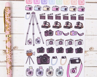 Cameras, DSLR and Film GLOSS Sticker Sheet | For Kikki K, Erin Condren or other Journals and Planners