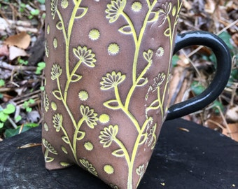 Floral Tripod Mug Yellow/Brown