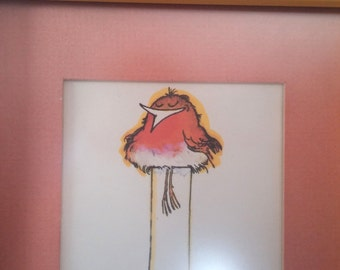 Bird Keeping Warm FREE SHIPPING Vintage Ink Art