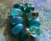 enameled ocean  ancients - handmade glass lampwork beads by Ellen Dooley sra
