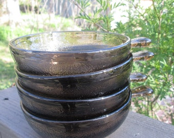 Four Vintage Brown Glass Soup Bowls - Glasbake With Handles - Great Gift