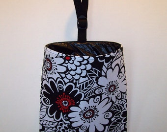 Car Litter Bag // Auto Trash Bag // Auto Litter Bag // New Stay Open Design // Zesty Zinnia // Red Black And White