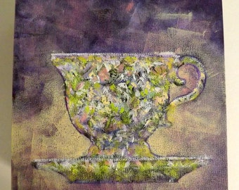 Original Acrylic Painting  6 X 6  A CUP of DRAMA Cup and Saucer by Canadian Ellen Haasen