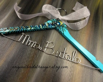 Bridal Dress Hangers -Blue Peacock Wood - Wedding Photo Prop - Peacock Wedding Hanger - Peacock Feathers - Bridal Gift - Wedding Keepsake