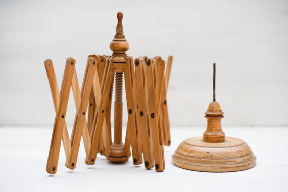 Wooden Knitting Wool Holder : Vintage wooden yarn winder umbrella swift knitting