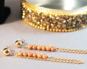 Stud Earrings 14k Gold Chain with Rose-Tone Beads