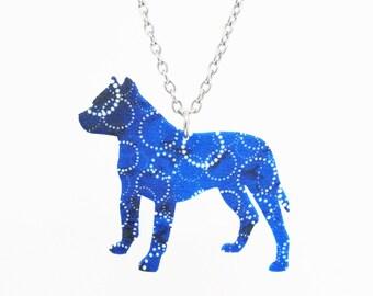 Blue Geometric Pitbull Necklace