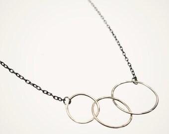 sterling silver handmade hoop necklace, triple hoop necklace