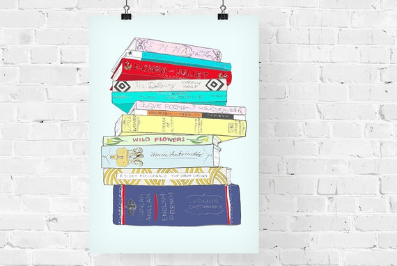 The Classics Book Stack Decorative Illustration Art Print