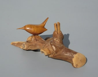 Bird Wood Carving Signed Bill Neely Carved Myrtle Wood Wren on Grape Vine
