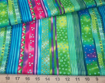 New from Laurel Burch - Wild Wicked n Wonderful stripes of Color Blue Green Fuchsia with patterns Top Quality Fat quarter from Clothworks