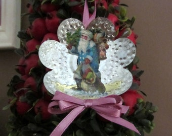 Vintage Tin Reflector Ornament with Antique Santa Paper Scrap and Gold Dresdens Handmade Piece