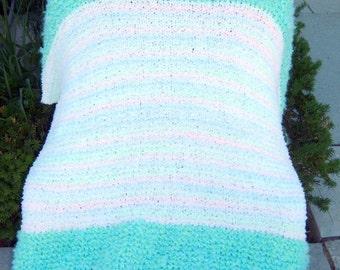 Super Sale - White Seaspray Swirl Garter Stitch Stripe Baby-Lap Blanket 42 1/2 inch x 57 1/2 inch FREE SHIPPING