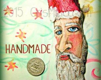 Handpainted Driftwood Santa Ornament