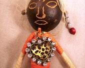 Fantasy Tribal Art Doll Pin Brooch Shamaness VooDoo JuJu Good Spirit Upcycled Statement Accessory Original OOAK Mystical Free Shipping