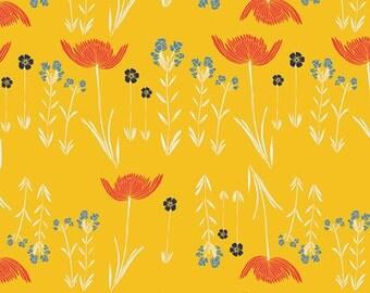 Savanna Glow Golden - Meadow - Art Gallery Fabrics - Leah Duncan - MW-70028 - Flowers Field Tulips - Quilting Cotton - Yellow