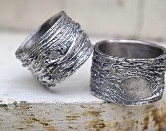 tree bark wedding rings wide bands unique rustic ecofriendly silver woodgrain primitive nature wedding unusual his