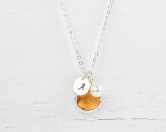 Personalized  November Birthstone Silver Necklace, Topaz Necklace, November Birthday Jewelry, Personalized Silver Necklace #869