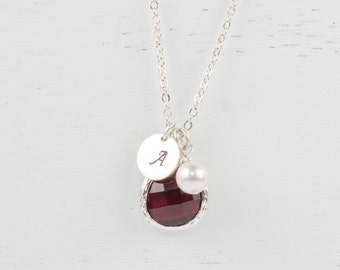 January Birthstone Personalized Silver Necklace, Garnet Necklace, Personalized Silver Necklace, January Birthday Gift, Bridesmaid Jewelry