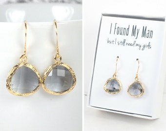 Charcoal Quartz Gold Earrings, Charcoal Gold Drop Earrings, Gray Gold Earrings, Bridesmaid Earrings, Bridesmaid Gift, Wedding Jewelry