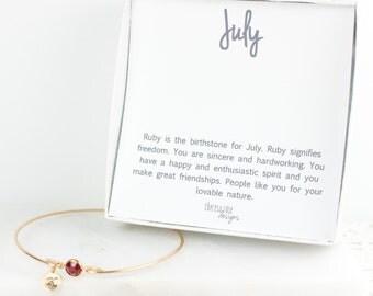Personalized July Birthstone Gold Bangle Bracelet, Personalized Gold Bracelet, Ruby Bangle, July Birthstone Bracelet