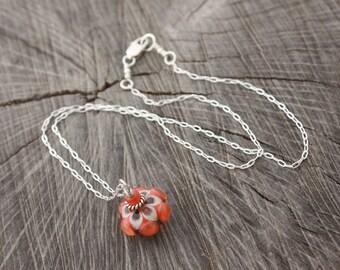 Orange Ivory Pendant Necklace Cute