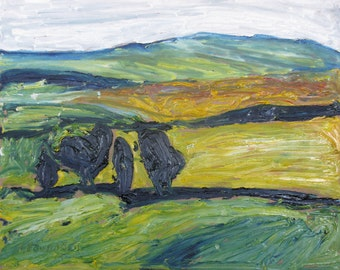 "Art Landscape Oil Painting Impressionist Original Yellow Fall Appalachian Eastern Townships Quebec Canada Fournier "" The Four Trees 16 x 20"
