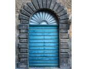 Italian Door Photogrph Orvieto Italy Umbria Blue Doorway Stone Print