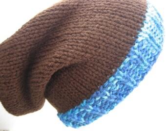 Hand Knit Slouchy Beanie Hat, Brown with Blue Stripes, Vegan Friendly Acrylic, Wearable Fiber Winter Accessory Cap Warm Dreads Dreadlocks