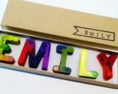 Kids NAME Crayons - Recycled Crayon Set - Custom Alphabet Name Crayons in a Gift Box - Crayon Toy - Earth Day Gift Crayon Set