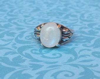 Art Deco Style Moonstone Leaf Design Sterling Silver Ring. Magnolia Jewel Designs