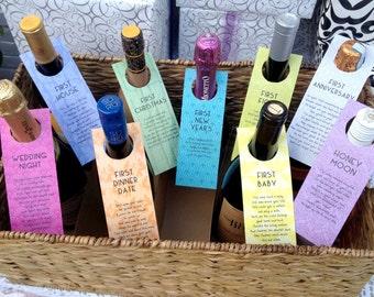 Wine Tags for Bridal Shower - Art Deco Modern Firsts - Bridal Shower, Bachelorette - Doorknob Labels - Set of 9 Designs - Digital file only