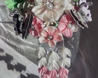 Cherry Blossom and Silver Butterfly Hair Fork