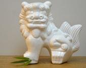 Large white vintage plaster foo dog statue