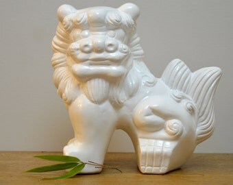 Large white vintage plaster foo dog statue