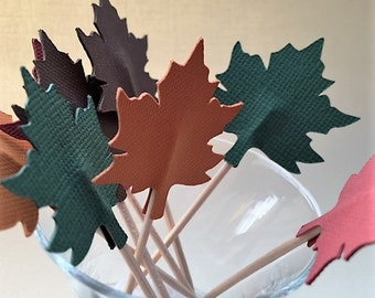 Fall Leaves Cupcake Topper/Party Picks - Set of 12
