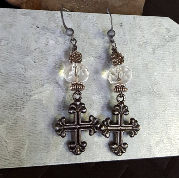 Black Cross Crystal Earrings, Coptic Cross Earrings, Old World, Ancient Style, Clear Crystal Quartz Earring, Antique Silver, Sterling Silver