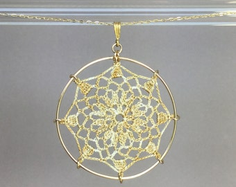 Mandala doily necklace, French vanilla hand-dyed silk thread, 14K gold-filled