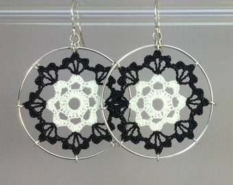 Scallops doily earrings, white and black silk thread