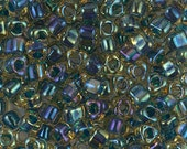 Triangle 5/0 Beads TR-1826 Midnight Blue Lined Topaz AB