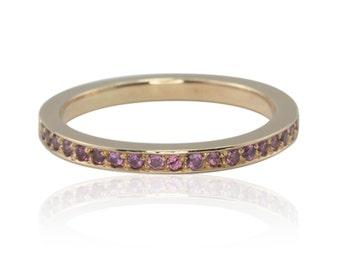Rose Gold Ring, 14kt Rose Gold Rhodalite Garnet Half Eternity Stacking Band - LS2827