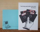 Floppy Disk - letterpress birthday greeting
